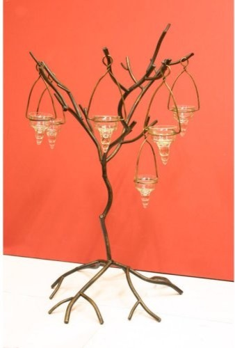 Small Bronze Metal Candle Tree contemporary-candles-and-candleholders