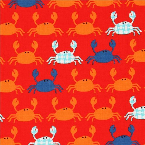 red fabric with crabs by Robert Kaufman from the USA fabric