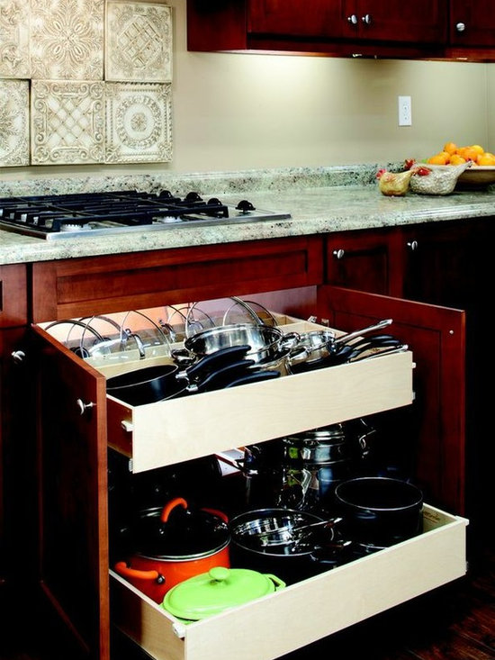 Double-Height Pull Out Shelves - Double-height pull out shelves from ShelfGenie of Connecticut installed beneath or next to your stovetop are perfect for storing your pots and pans.