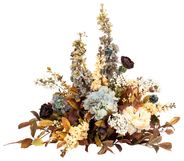 Blue And Brown Silk Centerpiece Arrangements Traditional