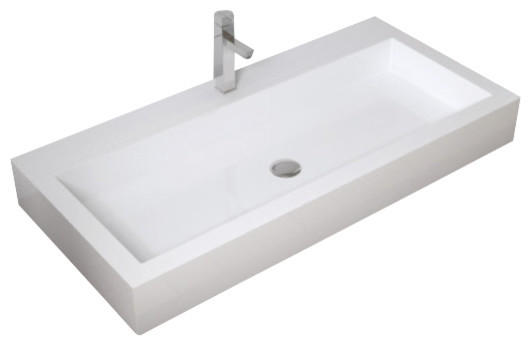 Large White Sink : ... Resin - Countertop Sink, White Matte,Extra Large modern-bathroom-sinks