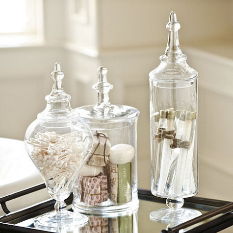 Glass apothecary jar traditional bathroom canisters for Bathroom accessories glass