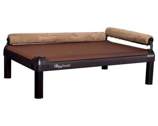 DoggySnooze - snoozeLounge, Anodized Frame, Long Legs, 2 Bolster Sd - Lucky dog, indeed! This so-comfy lounger boasts two bolsters to cradle your canine in luxury. Plus it comes in different sizes and heights to suit your particular pooch's preference.