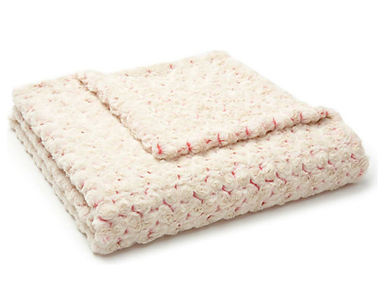 Belle & June - Lux Two-Toned Pink/Cream Rosebud Throw - Lap of luxury. This two-tone luxe blanket is made up of tiny rosebuds stitched together on both sides for plenty of depth and texture. Not only is it gorgeous, it's amazingly soft, too. Toss one on your bed, chaise or sofa so it's always close at hand.