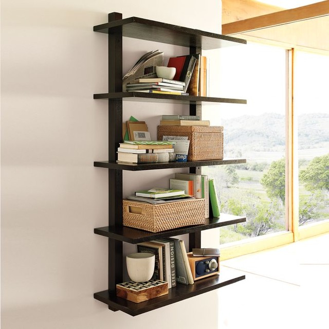 Wall-Mounted Bookcase, Tall - Modern - Display And Wall