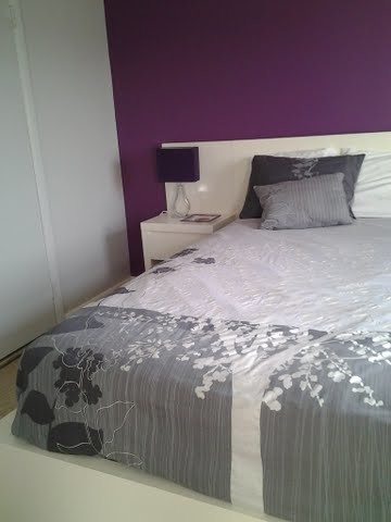 Modern Bedroom Grey Plum White