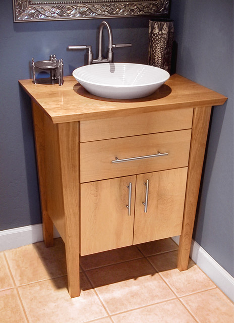 pedestal with a wood top - Contemporary - Bathroom Vanities And Sink ...