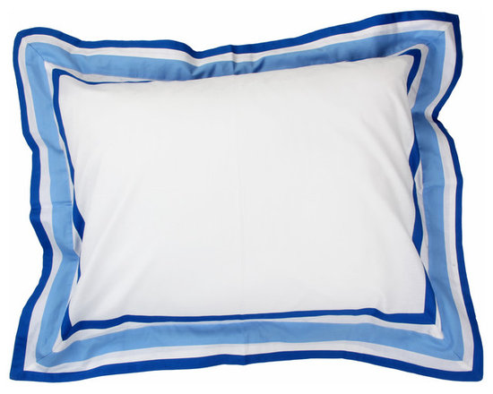 Simplicity Blue - Standard Pillow Sham - Standard flanged sham designed to replicate comforter in design.  All in cotton print fabric.