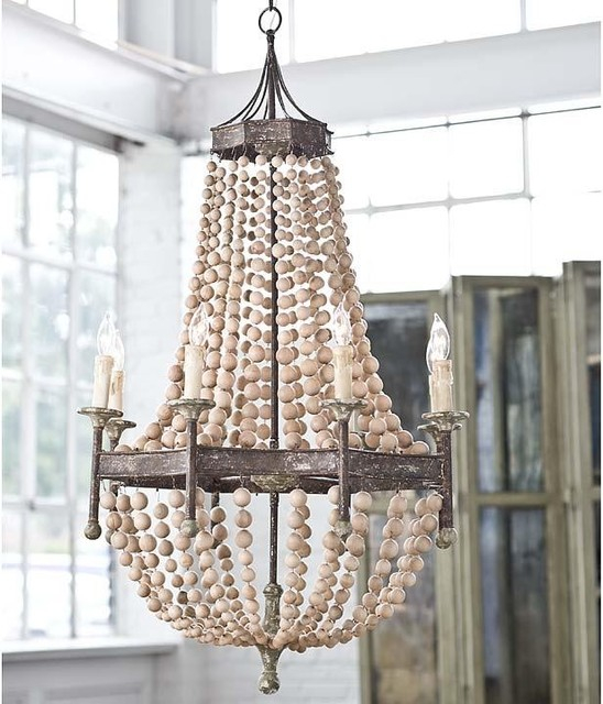 Regina Andrew Scalloped Wood Bead Chandelier eclectic chandeliers
