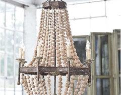 Regina Andrew Scalloped Wood Bead Chandelier eclectic-chandeliers