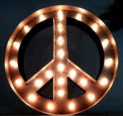 Lighted Sign, Peace eclectic-artwork