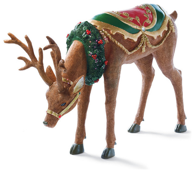 Fiber optic head down reindeer frontgate outdoor Traditional outdoor christmas decorations