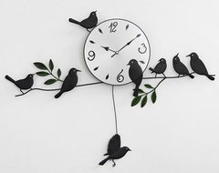 Black Bird Living Room Wall Clocks modern-accessories-and-decor