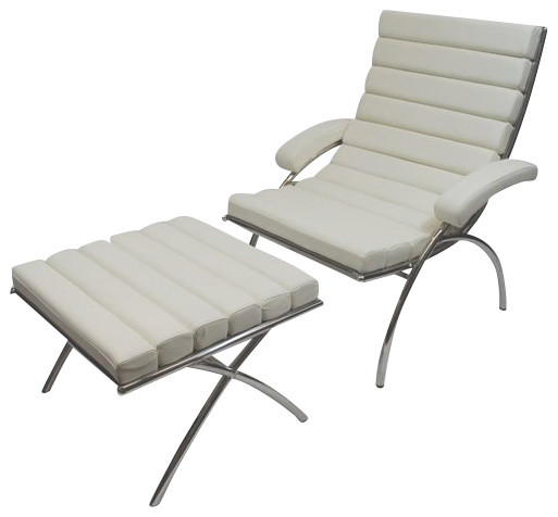 Modern Classic White Leather Chair and Ottoman midcentury-armchairs-and-accent-chairs