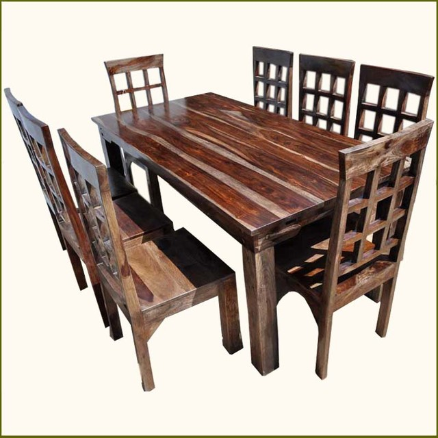 9pc solid rosewood dining table 8 chairs set with extension contemporary dining sets - India dining table ...