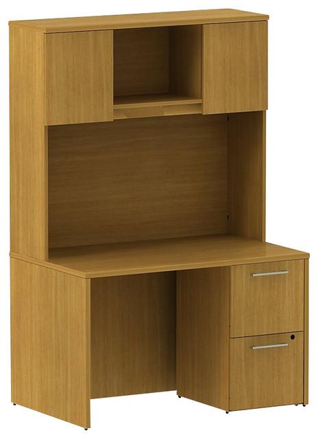 """Bush 300 Series 48"""" 2-Drawer Pedestal Desk with Hutch in Modern Cherry modern-desks-and-hutches"""