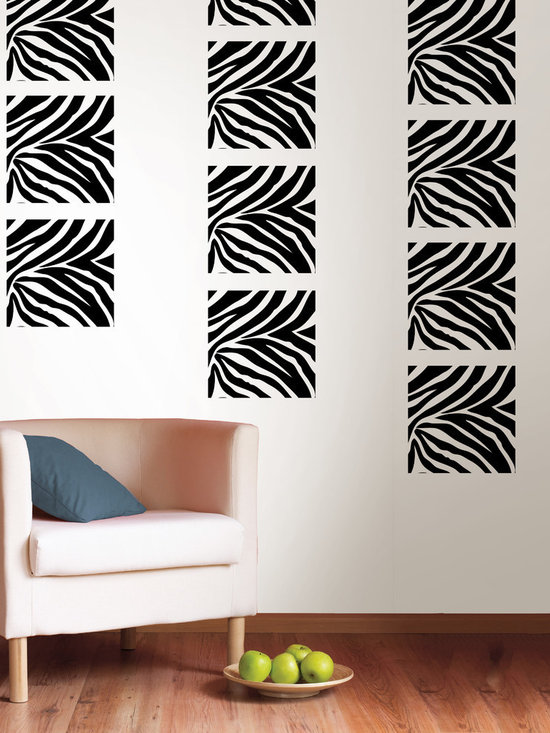 "Go Wild Blox Set of Wall Decals - Got a wild side? Go wild is edgy and full of fun! This pack comes with twelve 13"" x 13"" Go Wild zebra print blox. All WallPops are repositionable and always removable."