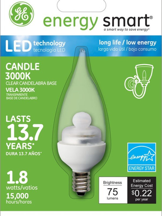 GE Energy Smart 10W Replacement (1.8W) Candle CA11 LED Bulb (Warm, Clear, E12) - GE Energy Smart 10W Replacement (1.8W) Candle CA11 LED Bulb (Warm, Clear, E12) | http://www.agreensupply.com/ge-energy-smart-10w-replacement-1-8w-candle-ca11-led-bulb-warm-clear-1/