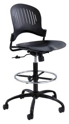 Safco Zippi Plastic Extended-Height Chair - Black modern-living-room-chairs