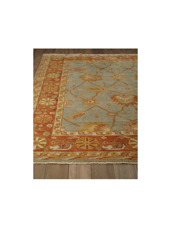 "Exquisite Rugs - Exquisite Rugs ""Terra"" Oushak Rug - Traditional designs in earthy hues are brightened by bits of blue in this rug that's ready to work almost anywhere. Its stylized pattern is a natural for more traditional rooms, but don't limit its possibilities. Hand knotted of wool. Hand washed and...."