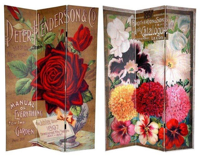6 ft. Tall Double Sided Flower Seeds Canvas Room Divider - Roses contemporary-screens-and-room-dividers