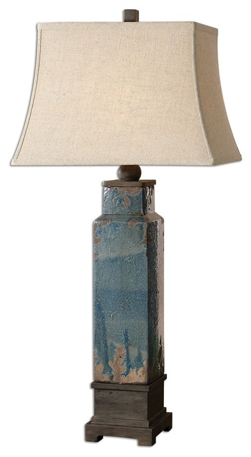 Distressed Blue Glaze Table Lamp transitional-table-lamps