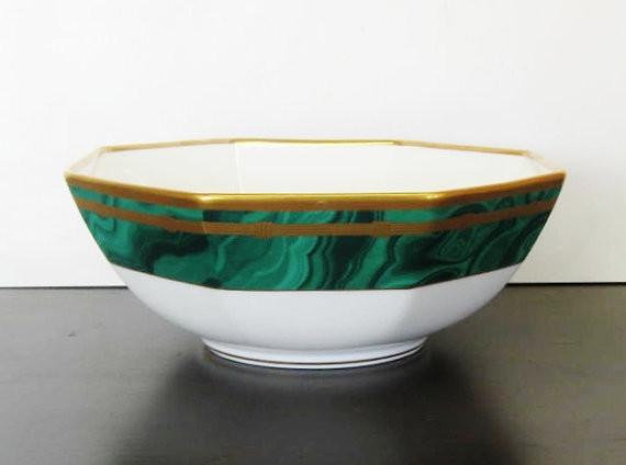 Christian Dior Malachite Bowl by The Gilded Tassel contemporary-serveware