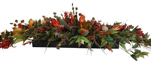 Long low floral centerpiece rustic artificial flower