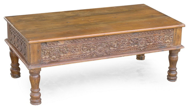 Carved panel reclaimed wood coffee table rustic coffee tables san francisco by timbergirl Carved wood coffee table