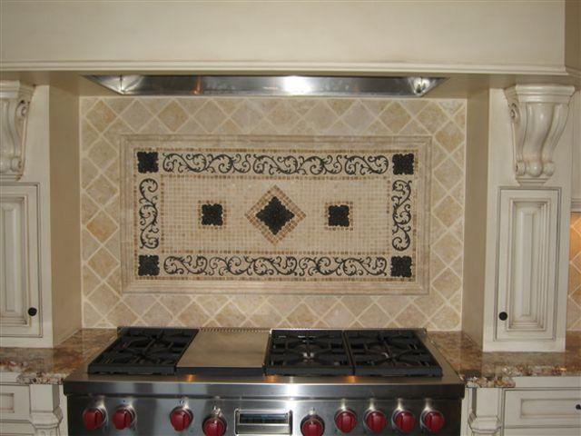 Handcrafted mosaic mural for kitchen backsplash traditional tile tampa by american tile - Traditional kitchen tile backsplash ideas ...