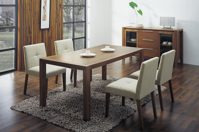 Overnice wooden with glass top fabric seats designer modern dining room contemporary dining - Modern glass dining room tables ...