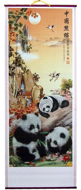 Frolicking Pandas Chinese Scroll asian-artwork