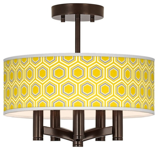 Honeycomb Ava 5-Light Bronze Ceiling Light contemporary-flush-mount-ceiling-lighting