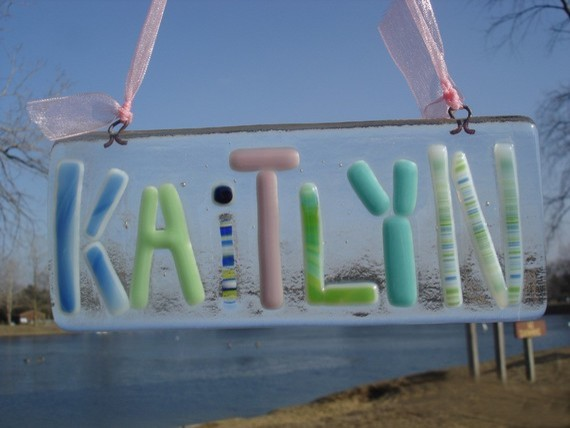 Personalized Fused Glass Name Plate by Amandas Fused Art contemporary kids decor