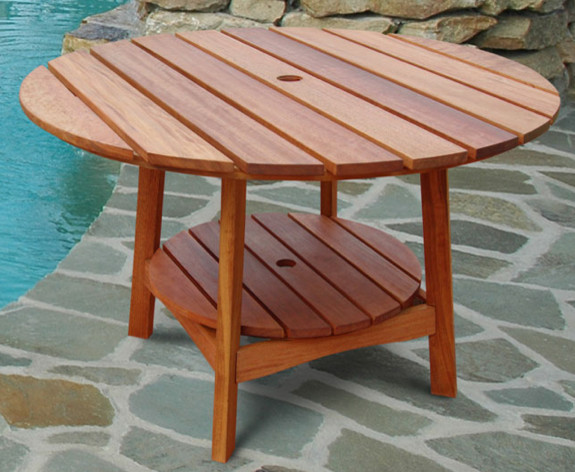 Outdoor eucalyptus wood round dining table traditional for Garden table designs wood