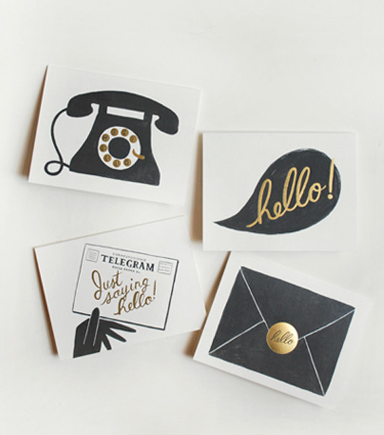 Assorted 'Hello' Cards eclectic desk accessories