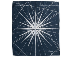 Montauk Compass Rose Hand Towel, Navy/White contemporary-dish-towels