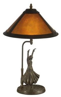 Living Room Lamp: 23.25 in. Amber Mica Dancer Table Lamp TT11185 contemporary-table-lamps