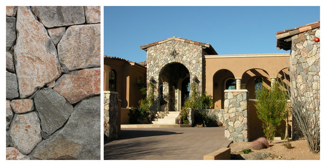 stone walls, all types utilizing natural stone thin veneer traditional