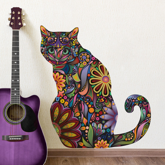 sitting cat wall sticker peel amp stick floral cat decal pics photos cat wall stickers