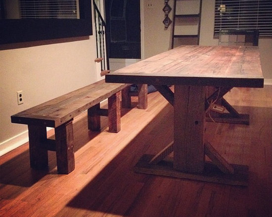 Reclaimed Wood Table + Bench - Reclaimed Wood Dining table and bench