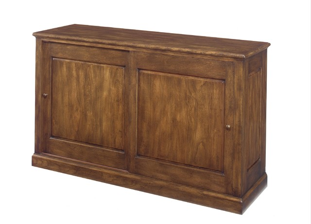 The No. 660 Entertainment Sliding Door Console, Shown in Cherry, Khaki Finish storage-cabinets