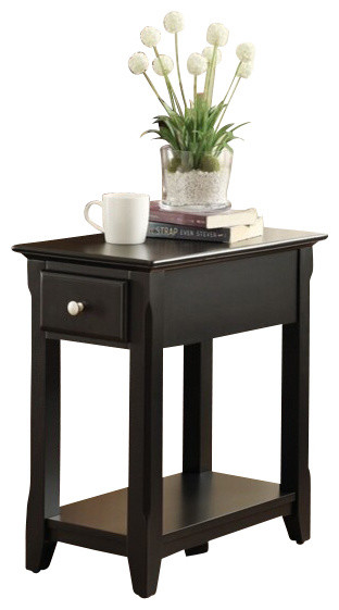 Corin Black Finish Wood Chair Side End Table with Drawer contemporary-side-tables-and-end-tables