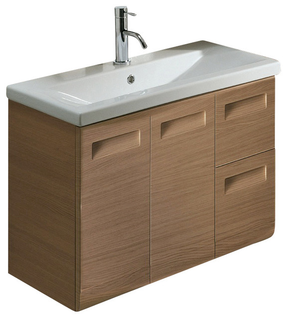 Wall Mounted Vanity Cabinet With Ceramic Sink Natural Oak Contemporary Bathroom Vanities