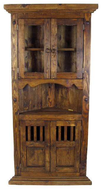 Rustic Wood Corner Cabinet with Glass Doors - Rustic - Storage Cabinets - phoenix - by Direct ...