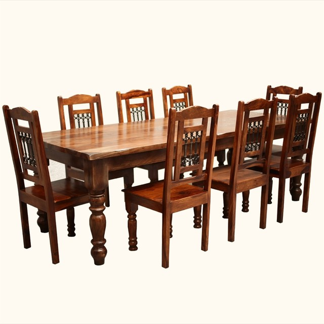Rustic Solid Wood Large Square Dining Table Chair Set: Solid Wood Furniture Rustic 8 Seater Large Dining Table