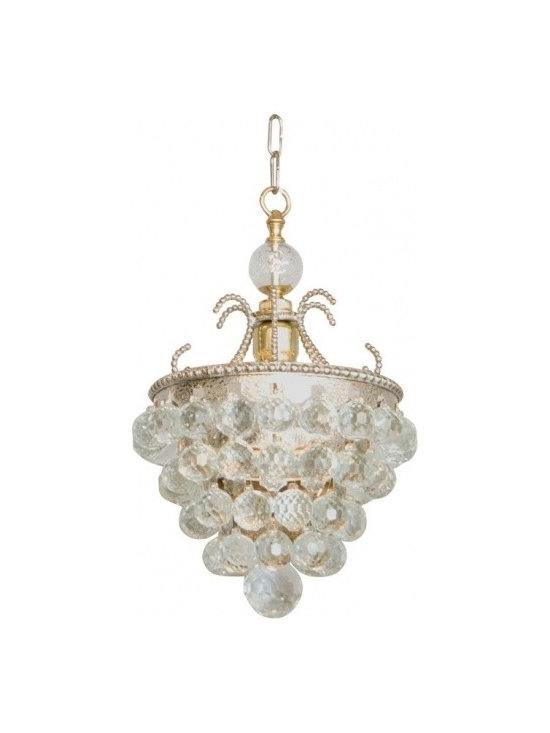 Eco Friendly Furnture and Lighting - Italy Mid-century Very unusual pendant fixture, having a frame of hammered silver metal with beaded border, surmounted by C-scrolls and ball finial; four graduating tiers surrounding a single bulb are hung with more than sixty hand-cut faceted crystal balls, finished by a large single drop.