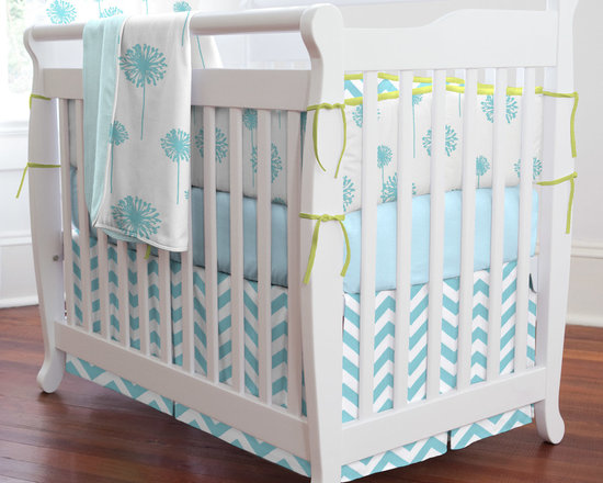 "Aqua Dandelion Mini Crib Bedding - Blowing in the wind, these modern yet whimsical dandelions will find their way into your heart. We have coupled this stylish deep aqua design with our fashionable chevron stripe to create a truly unique collection for your nursery. The clean, crisp antique white background is topped off with a splash of lime. Perfect for any nursery theme you may want to create for your special young lady. Perfect for smaller nurseries or for staying at Grandma's, portable mini-cribs are a great space-saving alternative to standard sized cribs. Our mini-crib bedding is designed to fit portable cribs using mattresses measuring approximately 24"" x 38""."