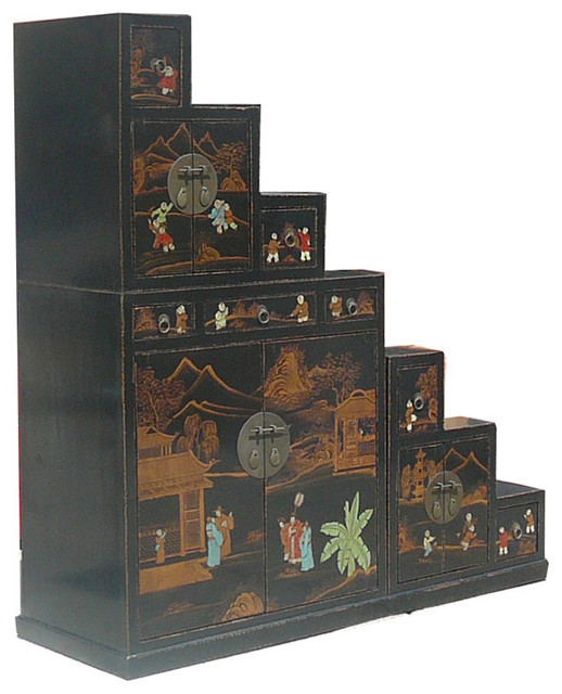 Oriental Japanese Style Chinese Traditional Hand Painting Step Tansu Cabinet - Asian - China ...