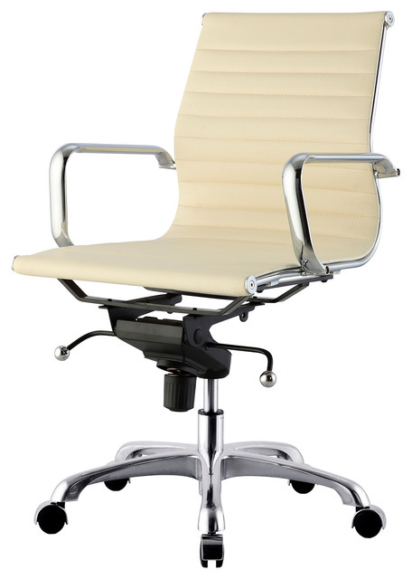 M344 Modern Office Chair In Cream Vegan Leather
